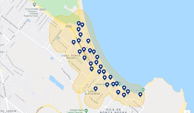 Mapa dos melhores hotéis em Natal