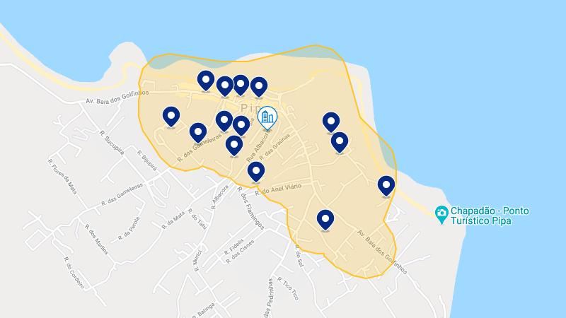 Mapa dos melhores hotéis em Pipa
