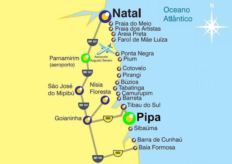Mapa de Natal e Pipa