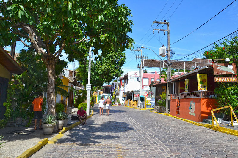 Rua no centro de Pipa